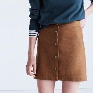 Madewell Light Brown Wool Button Front Mini Skirt